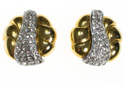 Vintage Erwin Pearl Gold and Sparkling Rhinestone Earrings by Erwin Pearl - Vintage Meet Modern Vintage Jewelry - Chicago, Illinois - #oldhollywoodglamour #vintagemeetmodern #designervintage #jewelrybox #antiquejewelry #vintagejewelry