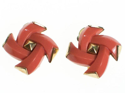 Vintage Crown Trifar Coral Lucite and Gold Geometric Earrings by Crown Trifari - Vintage Meet Modern - Chicago, Illinois