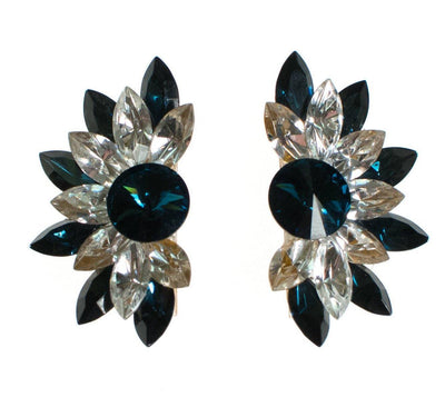Wendy Gell Blue and  Diamante Rhinestone Statement Earrings by Wendy Gell - Vintage Meet Modern Vintage Jewelry - Chicago, Illinois - #oldhollywoodglamour #vintagemeetmodern #designervintage #jewelrybox #antiquejewelry #vintagejewelry