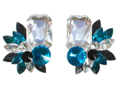 Wendy Gell Blue Black and Diamante Rhinestone Statement Earrings by Wendy Gell - Vintage Meet Modern - Chicago, Illinois
