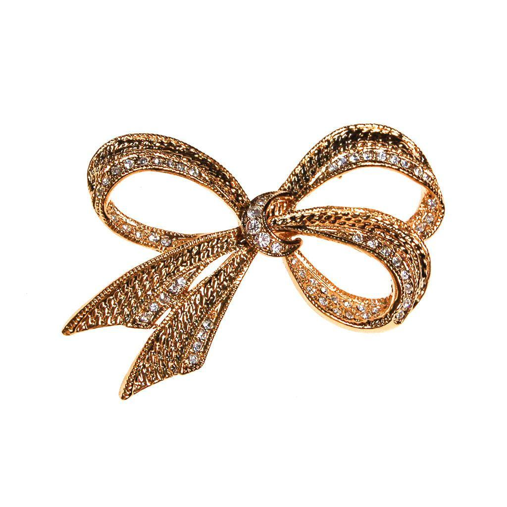 Vintage Roman Gold Bow Brooch with Rhinestones, Gold Ribbon, Bow Pin, Bow Brooch