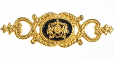 Ben Amun Gold and Black Royal Crest Brooch by Ben Amun - Vintage Meet Modern Vintage Jewelry - Chicago, Illinois - #oldhollywoodglamour #vintagemeetmodern #designervintage #jewelrybox #antiquejewelry #vintagejewelry