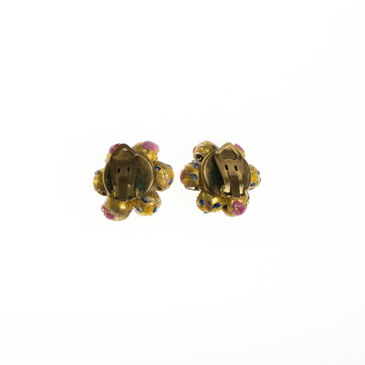 Vintage Gold and Pink Venetian Glass Wedding Cake Bead Earrings by 1930s - Vintage Meet Modern Vintage Jewelry - Chicago, Illinois - #oldhollywoodglamour #vintagemeetmodern #designervintage #jewelrybox #antiquejewelry #vintagejewelry