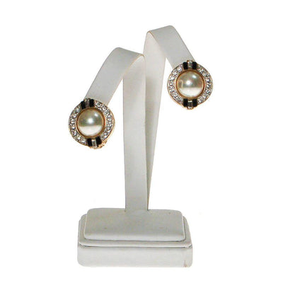 Vintage Carolee Art Deco Revival Pearl, Rhinestone, and Black Enamel Earrings by Carolee - Vintage Meet Modern Vintage Jewelry - Chicago, Illinois - #oldhollywoodglamour #vintagemeetmodern #designervintage #jewelrybox #antiquejewelry #vintagejewelry