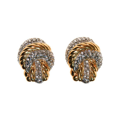 Vintage Nolan Miller Gold Knot and Pave Rhinestone Earrings by Nolan Miller - Vintage Meet Modern Vintage Jewelry - Chicago, Illinois - #oldhollywoodglamour #vintagemeetmodern #designervintage #jewelrybox #antiquejewelry #vintagejewelry