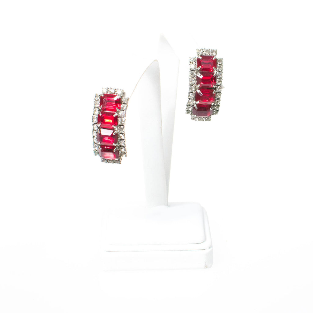 Vintage Art Deco Ruby Red Rhinestone Statement Earrings