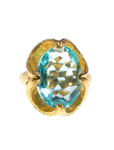 Vintage Blue Topaz Crystal Statement Cocktail Ring by 1960s - Vintage Meet Modern Vintage Jewelry - Chicago, Illinois - #oldhollywoodglamour #vintagemeetmodern #designervintage #jewelrybox #antiquejewelry #vintagejewelry