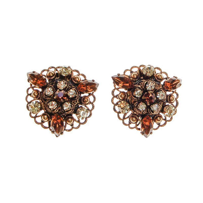 Vintage Amber and Citrine Rhinestone Earrings by 1960s - Vintage Meet Modern Vintage Jewelry - Chicago, Illinois - #oldhollywoodglamour #vintagemeetmodern #designervintage #jewelrybox #antiquejewelry #vintagejewelry