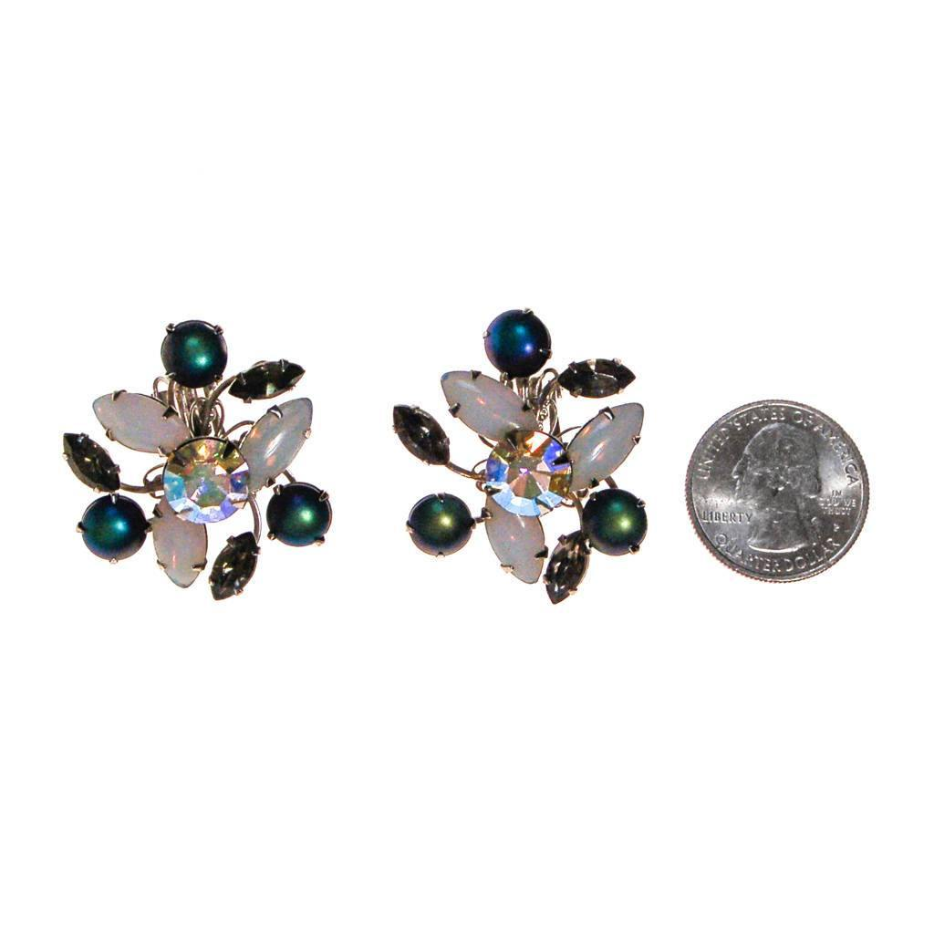 Vintage Opaline, Blue, Smokey Gray Rhinestone Statement Earrings