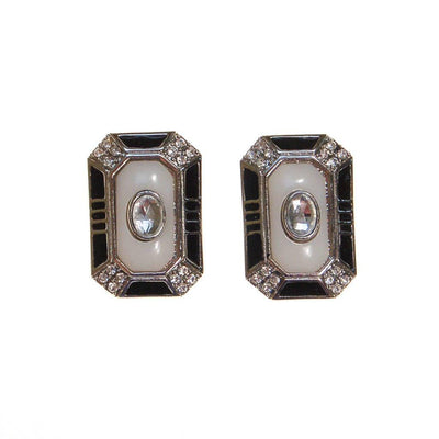Black White and Rhinestone Art Deco Style Clip Earrings by 1980S - Vintage Meet Modern Vintage Jewelry - Chicago, Illinois - #oldhollywoodglamour #vintagemeetmodern #designervintage #jewelrybox #antiquejewelry #vintagejewelry