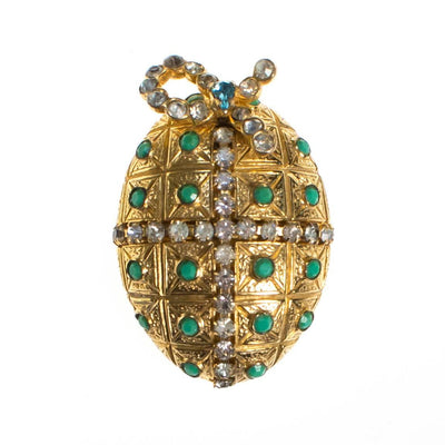 Vintage Castlecliff Royal Egg Faux Jade and Rhinestone Gold Brooch, Designer Vintage 1960s by Castlecliff - Vintage Meet Modern - Chicago, Illinois