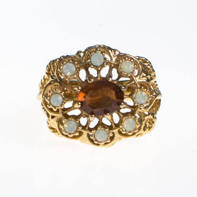 Amber and Opaline Crystal Statement Ring by 1980s - Vintage Meet Modern Vintage Jewelry - Chicago, Illinois - #oldhollywoodglamour #vintagemeetmodern #designervintage #jewelrybox #antiquejewelry #vintagejewelry