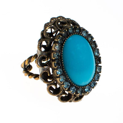 Vintage Turquoise and Rhinestone Statement Ring by 1960s - Vintage Meet Modern Vintage Jewelry - Chicago, Illinois - #oldhollywoodglamour #vintagemeetmodern #designervintage #jewelrybox #antiquejewelry #vintagejewelry