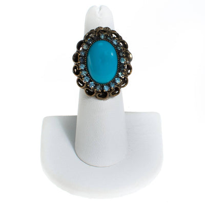 Vintage Turquoise and Rhinestone Statement Ring by 1960s - Vintage Meet Modern - Chicago, Illinois
