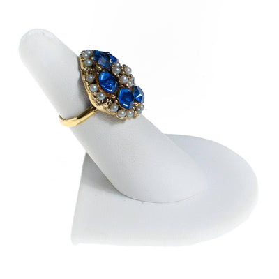 Vintage Blue Rhinestone and Seed Pearl Statement Ring by 1960s - Vintage Meet Modern Vintage Jewelry - Chicago, Illinois - #oldhollywoodglamour #vintagemeetmodern #designervintage #jewelrybox #antiquejewelry #vintagejewelry