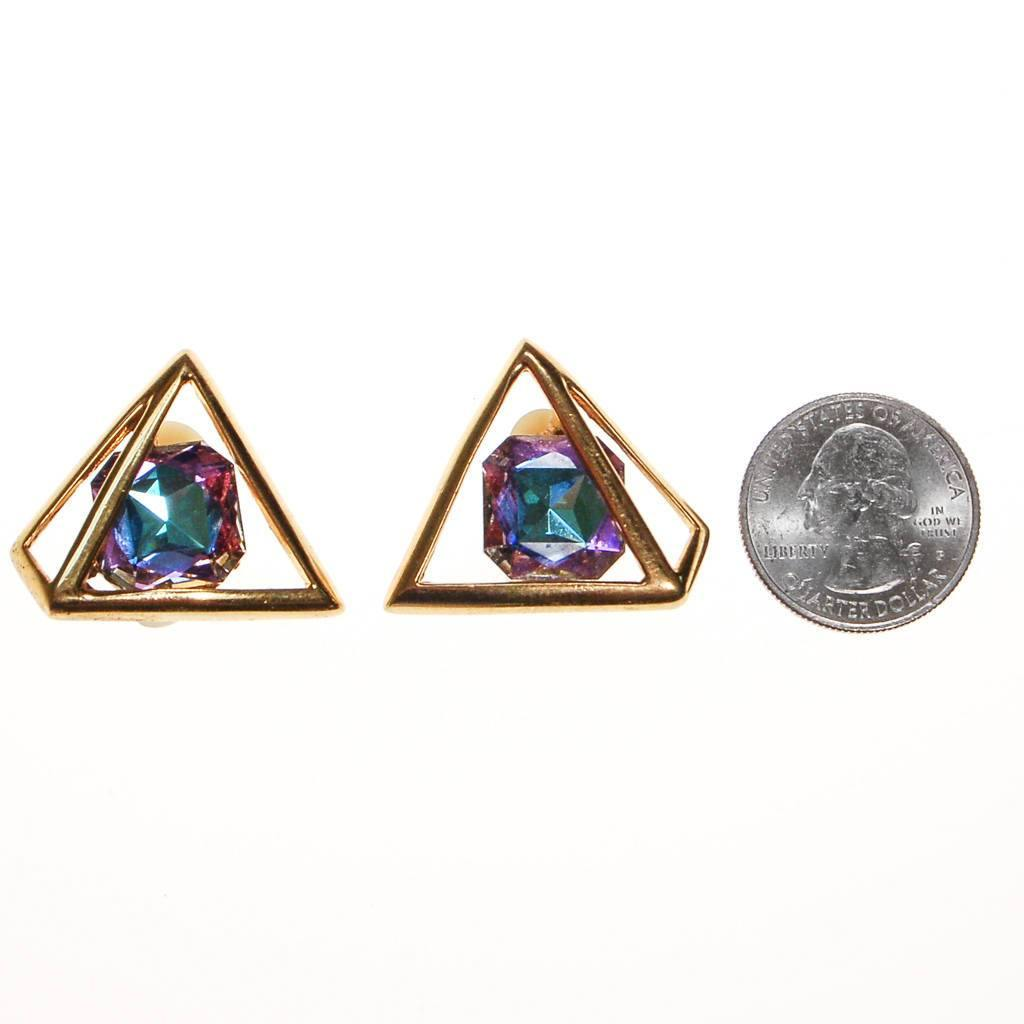 Vintage Piscitelli Prism Rhinestone Statement Earrings, Earrings - Vintage Meet Modern