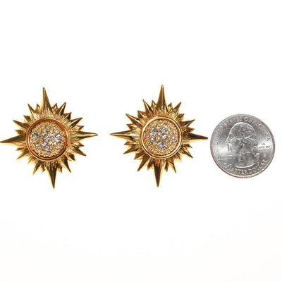 Vintage Swarovski Gold Rhinestone Star Statement Clip Earrings by Swarovski - Vintage Meet Modern - Chicago, Illinois