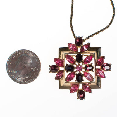 Vintage Pink and Purple Rhinestone Pendant Necklace by Anthony - Vintage Meet Modern - Chicago, Illinois
