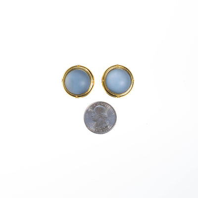 Vintage Light Blue Satin Glass Cabochon Statement Earrings by 1980s - Vintage Meet Modern Vintage Jewelry - Chicago, Illinois - #oldhollywoodglamour #vintagemeetmodern #designervintage #jewelrybox #antiquejewelry #vintagejewelry