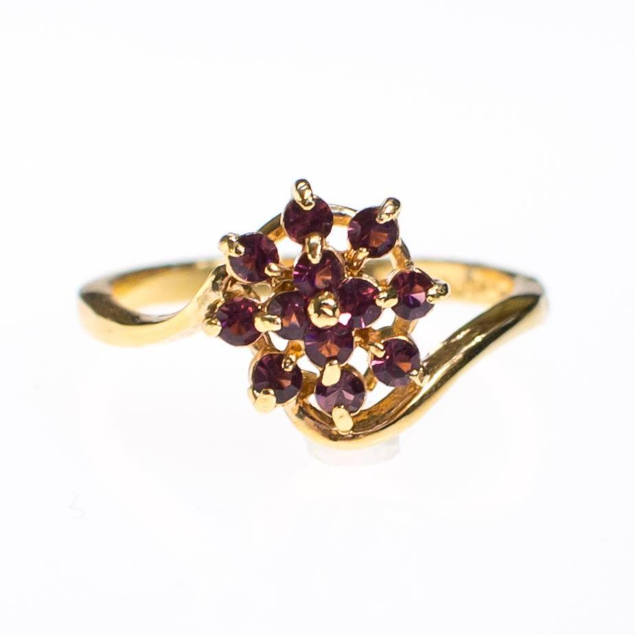Amethyst Gold Plated Flower Ring, Ring - Vintage Meet Modern