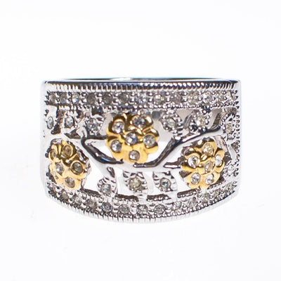 Diamonique CZ Floral Design Gold and Silver Wide Band Ring by 1990s - Vintage Meet Modern - Chicago, Illinois