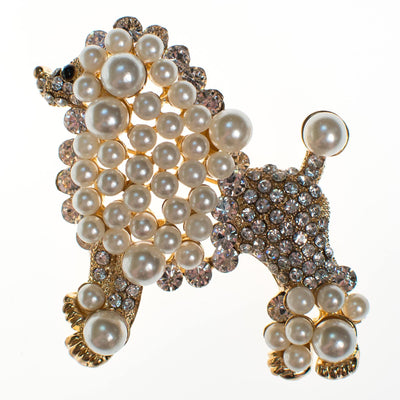 Vintage Poodle Brooch White and Gold by 1980's - Vintage Meet Modern - Chicago, Illinois