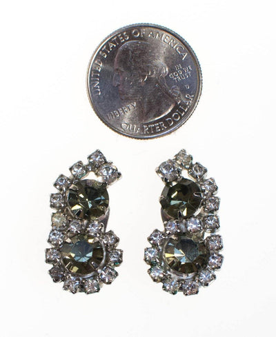 Vintage Black Diamond and Clear Crystal Rhinestone Earrings by 1950s - Vintage Meet Modern Vintage Jewelry - Chicago, Illinois - #oldhollywoodglamour #vintagemeetmodern #designervintage #jewelrybox #antiquejewelry #vintagejewelry