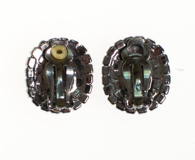 Vintage Jet Black Rhinestone Earrings, Clip On by 1950s - Vintage Meet Modern - Chicago, Illinois