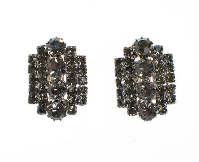 Vintage Black Diamond Crystal Rhinestone Earrings, Clip On by 1950s - Vintage Meet Modern Vintage Jewelry - Chicago, Illinois - #oldhollywoodglamour #vintagemeetmodern #designervintage #jewelrybox #antiquejewelry #vintagejewelry