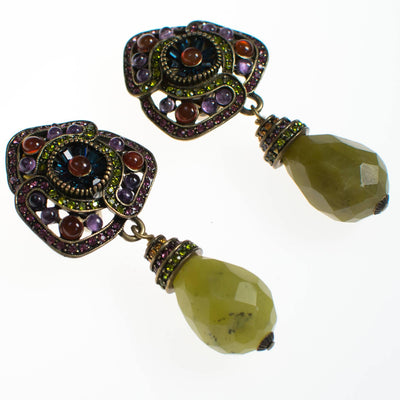 Heidi Daus Amethyst Peridot Drop Dangling Earrings by Heidi Daus - Vintage Meet Modern - Chicago, Illinois