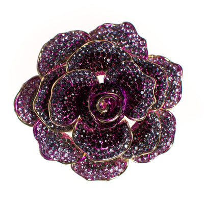 Vintage Purple Rhinestone Rose Brooch by Unsigned Beauty - Vintage Meet Modern Vintage Jewelry - Chicago, Illinois - #oldhollywoodglamour #vintagemeetmodern #designervintage #jewelrybox #antiquejewelry #vintagejewelry