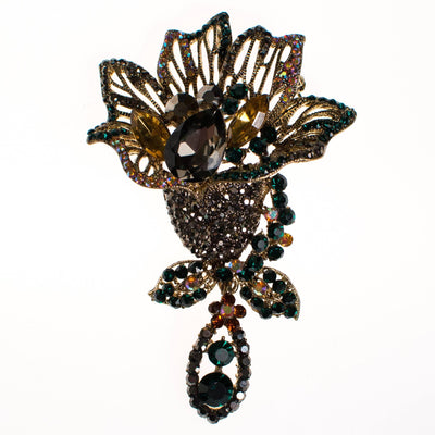 Vintage Rhinestone Lily Brooch with Marcasite, Emerald, Yellow Topaz Crystal Rhinestones by Unsigned Beauty - Vintage Meet Modern Vintage Jewelry - Chicago, Illinois - #oldhollywoodglamour #vintagemeetmodern #designervintage #jewelrybox #antiquejewelry #vintagejewelry