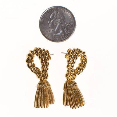 Vintage St John Couture Gold Tassel Earrings, Pierced, Dangling by St John Couture - Vintage Meet Modern - Chicago, Illinois