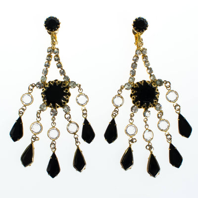 Vintage Crystal and Jet Black Rhinestone Chandelier Statement Earrings by 1960s - Vintage Meet Modern Vintage Jewelry - Chicago, Illinois - #oldhollywoodglamour #vintagemeetmodern #designervintage #jewelrybox #antiquejewelry #vintagejewelry
