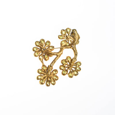 Vintage Peridot Flower Brooch Statement Pendant by 1960s - Vintage Meet Modern Vintage Jewelry - Chicago, Illinois - #oldhollywoodglamour #vintagemeetmodern #designervintage #jewelrybox #antiquejewelry #vintagejewelry