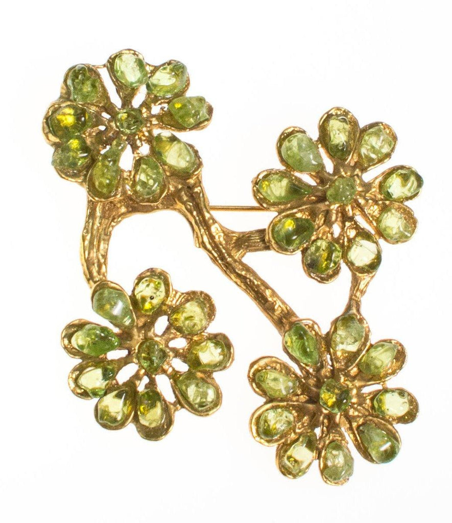 Vintage Peridot Flower Brooch Statement Pendant