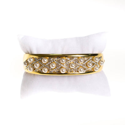 Vintage Camrose and Kross JBK Jacqueline Bouvier Kennedy Gold Pearl and Rhinestone Bangle Bracelet by Camrose and Kross JBK Jacqueline Bouvier Kennedy - Vintage Meet Modern - Chicago, Illinois