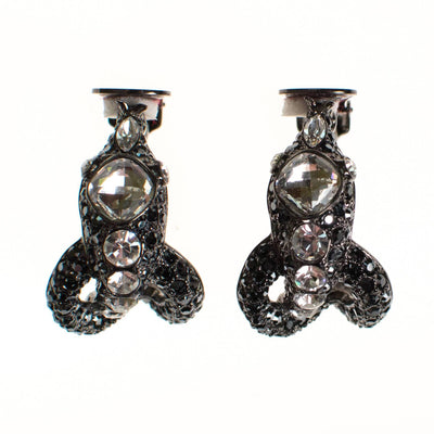 Vintage Kenneth Jay Lane Rhinestone Snake Hoop Earrings by Kenneth Jay Lane - Vintage Meet Modern - Chicago, Illinois