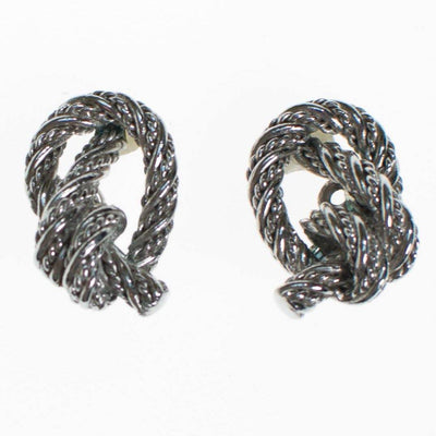 Crown Trifari Silver Knot Earrings, Clip On by Crown Trifari - Vintage Meet Modern Vintage Jewelry - Chicago, Illinois - #oldhollywoodglamour #vintagemeetmodern #designervintage #jewelrybox #antiquejewelry #vintagejewelry