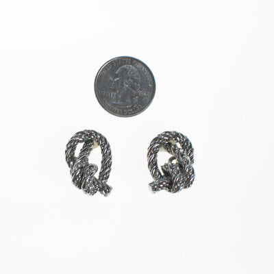 Crown Trifari Silver Knot Earrings, Clip On by Crown Trifari - Vintage Meet Modern - Chicago, Illinois