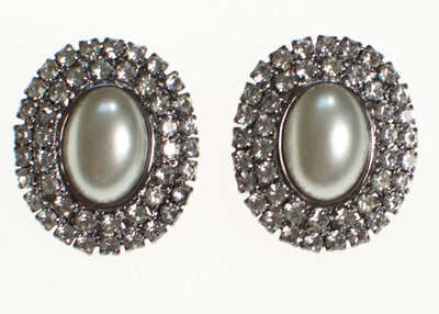 Vintage Pearl and Rhinestone Statement Earrings by 1980s - Vintage Meet Modern - Chicago, Illinois
