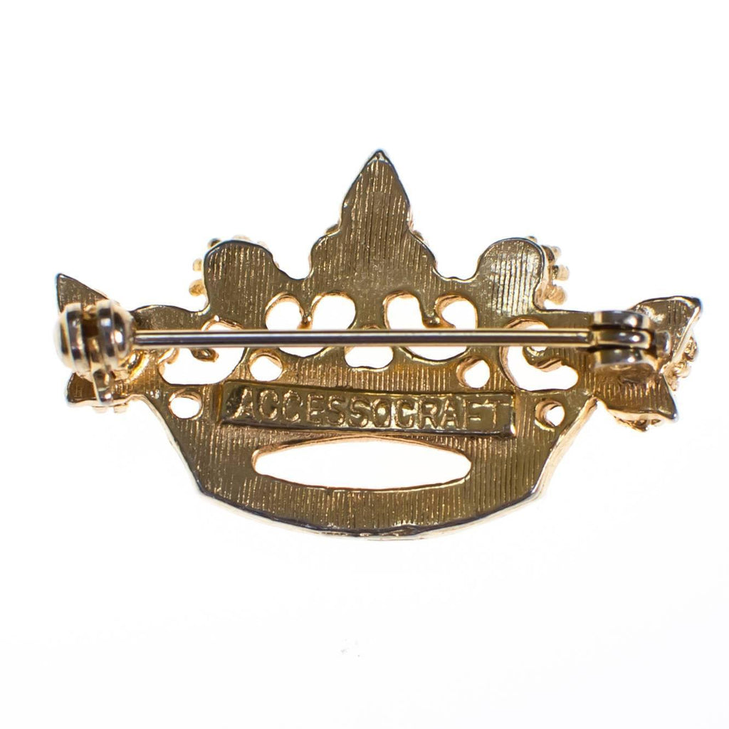 Vintage Accessocraft NYC Gold Crown Brooch with Pearls, Brooch - Vintage Meet Modern