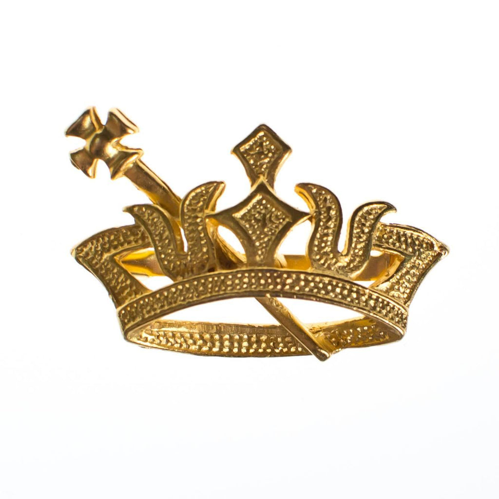 Vintage Gold Crown with Sword Pin
