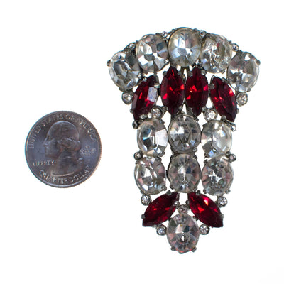 Vintage Art Deco Diamante Ruby Red crystal rhinestone fur clip by Art Deco - Vintage Meet Modern Vintage Jewelry - Chicago, Illinois - #oldhollywoodglamour #vintagemeetmodern #designervintage #jewelrybox #antiquejewelry #vintagejewelry