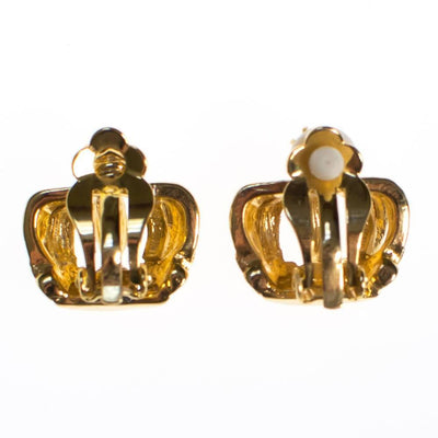 Vintage RJ Graziano Gold Crown Earrings, Clip On by RJ Graziano - Vintage Meet Modern - Chicago, Illinois