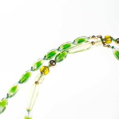 Vintage Green Crystal Beaded Necklace by 1970s - Vintage Meet Modern - Chicago, Illinois
