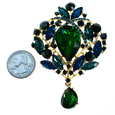 Vintage Emerald Green and Sapphire Blue Brooch with Dangling Pear Shape Crystal by Unsigned Beauty - Vintage Meet Modern - Chicago, Illinois