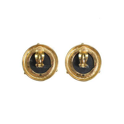Vintage French Coin Statement Earrings, Large, Round, Clip On by 1980s - Vintage Meet Modern Vintage Jewelry - Chicago, Illinois - #oldhollywoodglamour #vintagemeetmodern #designervintage #jewelrybox #antiquejewelry #vintagejewelry