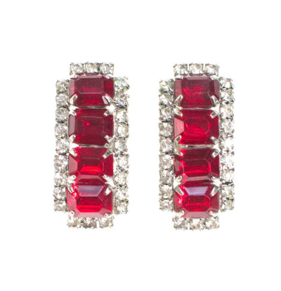 Vintage Art Deco Ruby Red Rhinestone Statement Earrings by 1940s - Vintage Meet Modern Vintage Jewelry - Chicago, Illinois - #oldhollywoodglamour #vintagemeetmodern #designervintage #jewelrybox #antiquejewelry #vintagejewelry