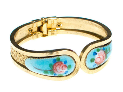 Vintage Guilloche Enamel Clamper Bracelet with Pink Roses and Turquoise by 1960s - Vintage Meet Modern - Chicago, Illinois